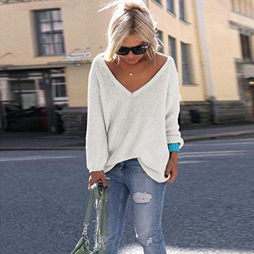 IHRKleid Pull Femme Pullover à manches longues en maille lâche chandails Blanc