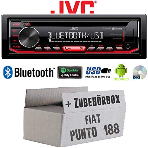 Autoradio Radio JVC KD-R794BT | Bluetooth | Spotify | MP3 | USB | Android | CD - Einbauzubehör - Einbauset für FIAT Punto 188 - JUST SOUND best choice for caraudio