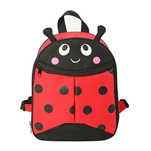 APOLLO WALKER Kinder wasserdichte Lunch-Bag - niedlichen Cartoon-Rucksack - Kinderrucksack junge Mädchen Kinder 1-6 Jahre alt (Rosso e nero)