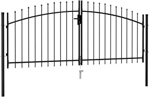 Lechnical Recinzione cancello Doppia Ala con Punte di Lancia cancello da Giardino in Acciaio cancello da Giardino cancello dingresso cancello Cortile 3 x 1,25 m Nero