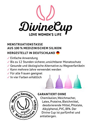DIVINE CUP Menstruationstasse - Pretty in Pink/Rosa - Made in Germany - geruchlos - medizinisches Silikon - Alternative zu Tampons und Binden (S - Klein) - 4