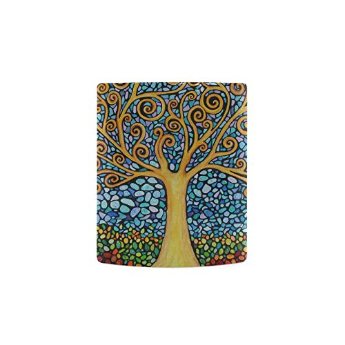 Abstract Mosaic Tree of Life White Mug Cup Coffee Mug - Best Gift for Valentine's Day,Birthday,Anniversary,Christmas or New Year