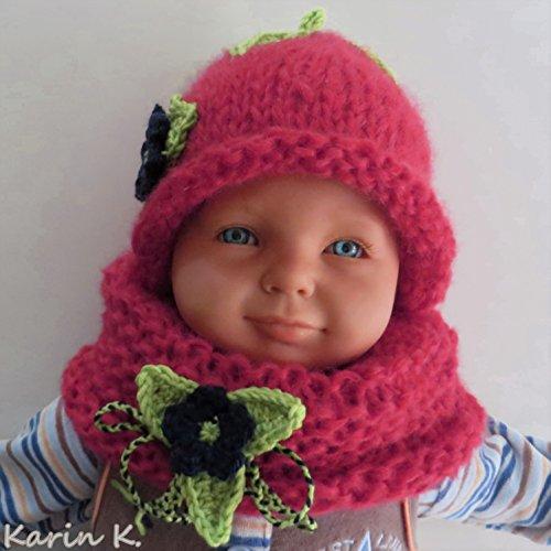 BABY- SET Mütze und Schlauchschal in Rot mit abnehmbaren Häkel- Blüten in Lindgrün und Dunkelblau