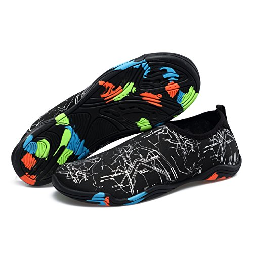 Dewuseller Chaussures Rock Séchage Rapide Slip-on Chaussures De Sauvetage Avec De Multiples Trous De Sortie Outsole Water Shoes Sea Shoes Chaussures De Plage Pour Hommes Femmes Black Reticle