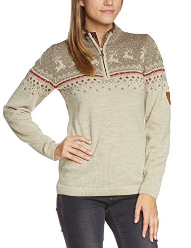 Dale of Norway Damen Pullover Tuva, Mountainstone/Sand/Wein, XL, 91491-P (Reiner Wolle Pullover Medium)