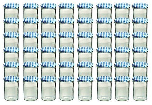 Set de 48 botes de cristal para conservas (435ml), tapa de cuadros de vichy, color azul y blanco