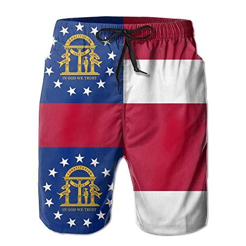 VVIANS Mens Georgia Flag American City Breathable Beach Board Shorts Swim Trunks Quick Dry X-Large Georgia Tech Pocket