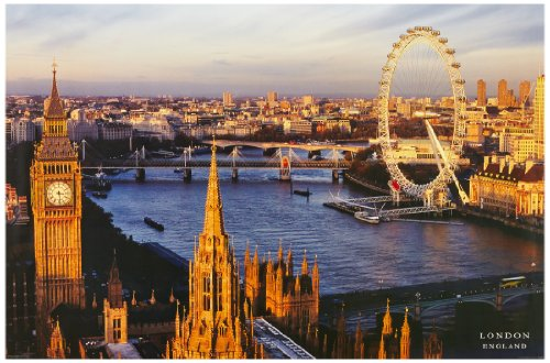 1art1 37980 London - London Eye, Westminster Bridge Poster (91 x 61 cm)