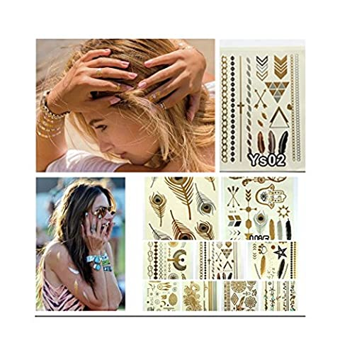 Sumbest 10 Bogen Premium Temporäre Metallic-Tattoos zum Aufkleben Hippie Temporary Tattoos in Gold Silber von Joy Avenue