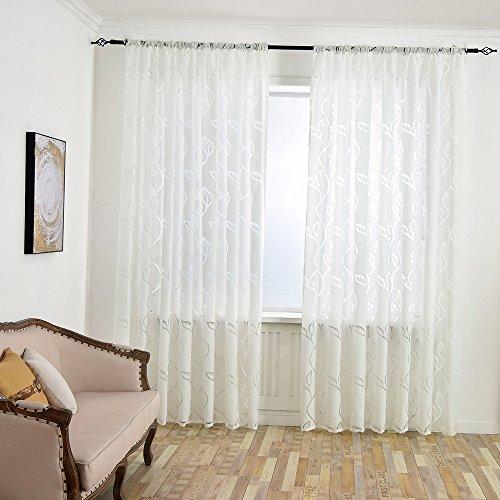 1 Stück Vorhang,Blätter Durchbrochene Schnittblume Einzelstück Vorhang,Blumen Tüll Voile Fenstervorhang Schiere Vorhänge Gardinen,Voile Transparent Wohnzimmer Vorhang,98.42* 39,37 Zoll (Weiß) -