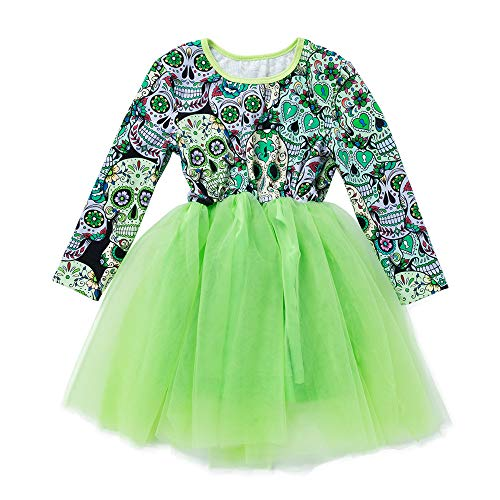 Baby Kinder Mädchen Langarm Druck Tutu Prinzessin Kleid Halloween Kostüm Kinder Glanz Kleid Mädchen Halloween Verkleidung Karneval Party von Innerterne