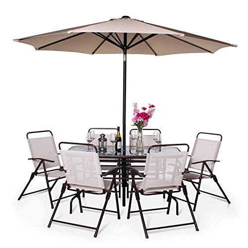 51FZoErhtmL - NO.1 GARDEN BillyOh Express 6 Seater Rectangular Metal Garden Furniture Set (Brown) Best price Review