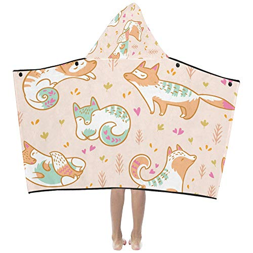 Fox Yoga Cute Funny Animal Soft Warm Cotton Blended Kids Dress Up Hooded Wearable Blanket Bath Towels Throw Wrap For Toddlers Child Girls Boys Size Home Travel Picnic Sleep Gifts (Dress Up Girl Fox)
