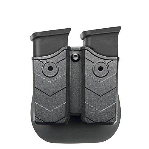 efluky Doppel-Magazintasche - Magazin Holster, Doppel Magazintasche mit Paddel für Glock/H & K/Smith & Wesson/Ruger/SIG Sauer/Springfield/Taurus/Beretta/CZ/Walther und Mehr, Passend für 9mm/.40 Cal -