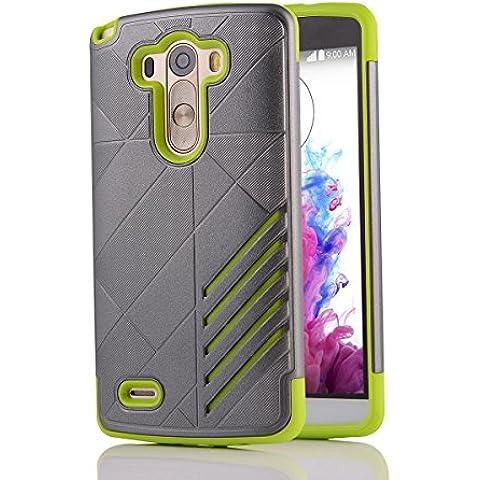 LG G3Case Cover, LG G3D850D855,, M. JVisun Cover rigida custodia in plastica + gomma protettiva resistente all' impatto antiurto antigraffio bicolore Unisex Pelle per Lg G3D850D855, PLASTICA Gomma, Grigio verde, For LG G3