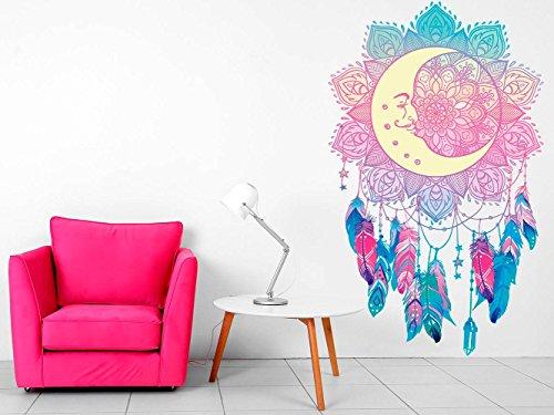Vinilo decorativo pared Espiritual Luna Atrapasueños | Varias Medidas 116x145cm | Multicolor | Pegatina Adhesiva Decorativa de Diseño Elegante
