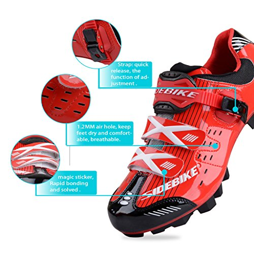 SIDEBIKE MTB Cycling Shoes Gentlemen Ladies Mountainbike Shoes 6.5 – 12 UK (EU 45 ( UK 11 ), Upgrade-Red Black)