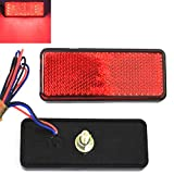 Qiorange 2 Pcs Rectangle Reflector Waterproof 24 LED Marker Tail Brake Stop Light Car Trailer Truck for RV,Trailer,Truck,UTE,UTV,ATV,Motorcycle (Red Rectangle)