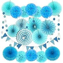 Zerodeco Decoración de la Fiesta, 21 Piezas Azul Abanicos de Papel Bola de Nido Pom