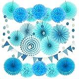 Zerodeco Decoración de la Fiesta, 21 Piezas Azul Abanicos de Papel Bola de Nido Pom Poms Ventilador Cumpleaños Boda Carnaval Bebé Ducha Home Party Supplies Decoración