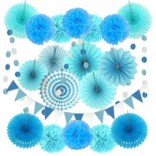 Zerodeco Decoración de la Fiesta, 21 Piezas Azul Abanicos de Papel Bola...