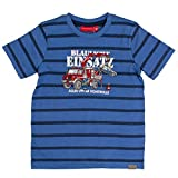 SALT AND PEPPER Jungen T-Shirt Fire Stripes, Blau (Blue Melange 448), 116 (Herstellergröße: 116/122)