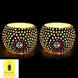 Mozaic Lamps Handcrafted Bindi Decorated Circular Shaped T-Light, Candle Holder, Diya Holder (KRML0011, Multicolour)