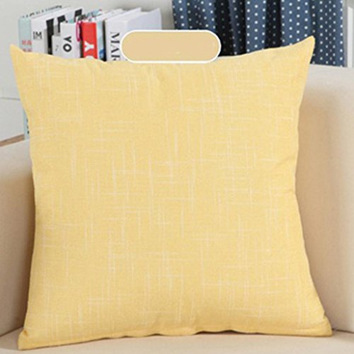 Indexp Simple Solid Pillow case Sofa Home Decoration Throw Cushion Cover (Yellow/Linen)
