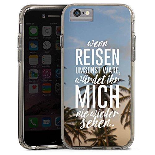 Apple iPhone X Bumper Hülle Bumper Case Glitzer Hülle Reise Palmen Urlaub Bumper Case transparent grau