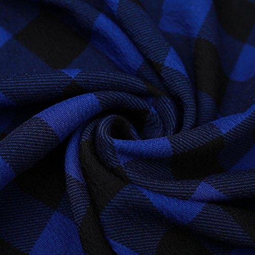 BYSTE Moda Donne Pavimento Lunghezza Vestito Manica lunga Casuale griglia stampa Sezione lunga abito sciolto Vestito da festa Blu