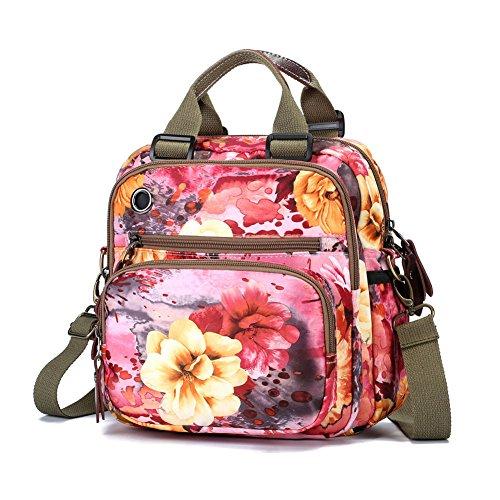 EasyHui Damen Umhängetasche/Handtasche mit Blumenmuster, rosa Blume