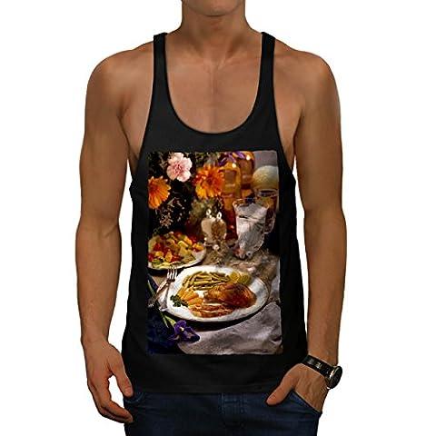Chicken With Vegies Cafe Food Men Black M Gym Tank Top | Wellcoda