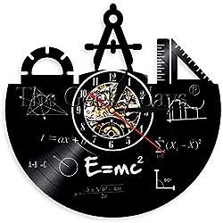 ZBBSHOP Reloj de Pared Elemento químico Tabla periódica Disco de Vinilo Reloj de Pared Química Fórmula matemática Ciencia Reloj de Pared Friki Gráfico Aula
