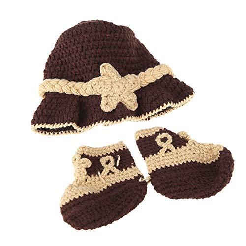 Perfekt Unisex Strickmütze Und Schuhe Unisex Fotografie Stricken Häkeln Handgemachte Mütze Cap Cute Newborn Handmade Crochet Kleidung Zubehör (Schnuller Newborn Mit Clip)
