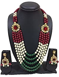 Exclusive Stylish Party Wear Multi Color Pearl & Stone Necklace Rani Haar Jewellery Set With Earings For Won