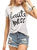 ROMWE Damen T-Shirt mit Slogan Sommer Kurzarm Locker Shirt Top ''Haute Mess Hell Grau S