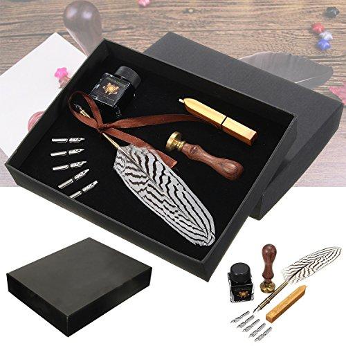 Tutoy Antique Feather Writing Quill Pen Tinte Dichtung Wachs Set Collection Briefpapier Geschenk