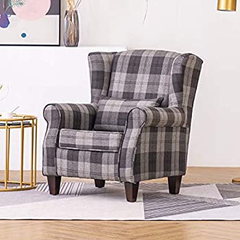 Red Neo/® Fabric Tartan Check Wing Back Recliner Upholstered Armchair Accent Sofa Chair
