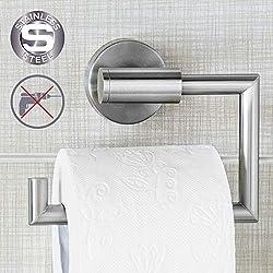 Wonder Worker 80098 Toilettenpapierhalter aus Edelstahl, Ohne Bohren, Silber, 15.5 x 13.5 x 5.4 cm
