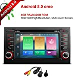 freeauto für Audi/A4/S4/RS4/Seat Exeo 17,8 cm Android 8.0 Multi Touch Bildschirm Autoradio DVD Player GPS Canbus Screen Mirroring Funktion OBD2 Octa-Core 64bit 4 G RAM 32 GB ROM
