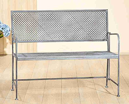 Gilde Metall Gartenbank Rustic grau gewischt L = 110 x B = 51 x H = 60 cm