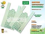 SHOPPER BIODEGRADABLI COMPOSTABILI - Misura 27x16x50 - Scatola da N.° 500 PEZZI (7,0 grammi/cadauno - Scatola da Kg 3,5) - BUSTE SHOPPERS BIODEGRADABILI. Sacchetti e sacchi per umido NORMATIVA UNI EN13432