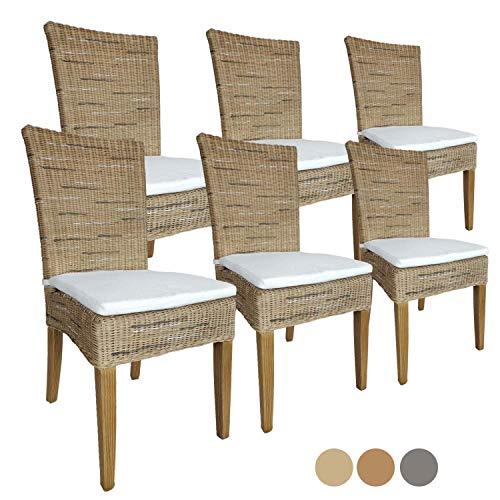 casamia Rattanstuhl-Set Cardine 6 Stück Esszimmer-Stuhl mit/ohne Sitzkissen Cappuccino mit Sitzkissen