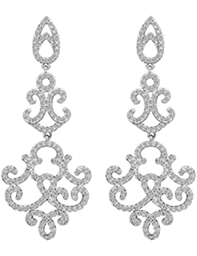 Ever Faith 925 Sterling Silber Cubic Zirkonia Vintage Retro-Stil Chandelier Dangle Anhänger Ohrringe N06923-1