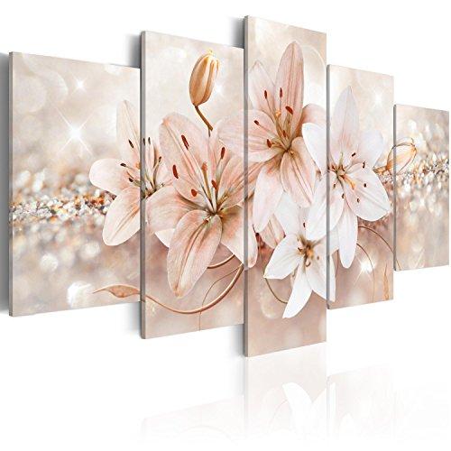 Murando quadro 100x50 cm stampa su tela in tnt xxl immagini moderni murale fotografia grafica decorazione da parete 5 pezzi fiori b-a-0297-b-o