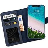 BEMFEY iPhone X | XS Case Monaco in Elegantem Premium Leder 2 in 1 Lösung mit magnetischer und herausnehmbarer Handyhülle aus dem Lederetui Made in Europe (Blaugrau)
