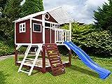 Scheffer Outdoor-Toys Stelzenhaus rot mit Kletterwand, Sandkasten Tobi4you. Kinderspielhaus, Rutsche wählen:Blaue Rutsche, Sicherheit wählen:ohne Bodenanker