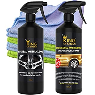 King of Sheen Waterless Wash and Wax Advanced Ultra Nano 1lt and Universal Wheel Cleaner 1lt + 4 Professional Microfibre Cloths Car Cleaning Kit