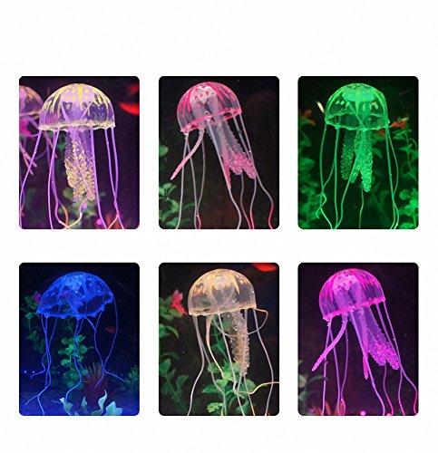 Quallen Kostüm - 6 Stück leuchtende künstliche Quallen für Aquarium Ornament Dekoration, Safe für Fisch, Instant Saugnapf Installation