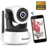 Sricam Cámara de Vigilancia Interior 1080P, Cámara IP Wifi Inalámbrico Visión Nocturna, Audio Bidireccional, Detección de Movimiento, Compatible iOS Android Windows PC